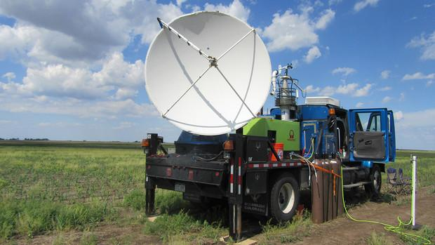 A Doppler on the back of a truck collects data.