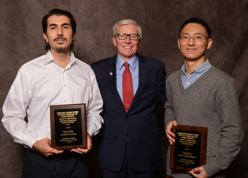 Dr. Ozan Ciftci, ARD Dean and Director Archie Clutter, and Dr. Yufeng Ge