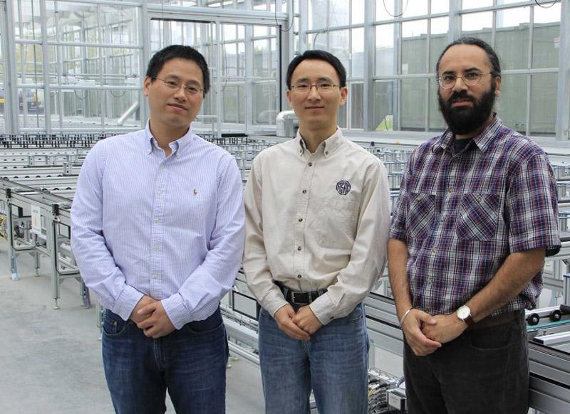 Hongfeng Yu (from left), Yufeng Ge and Harkamal Walia